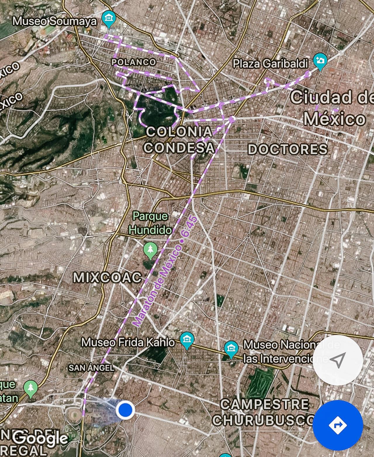 La ruta apareció en Google Maps desde un día antes de la carrera!
